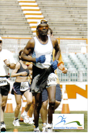 John Molet finishing the 2005 Knoxville Marathon.