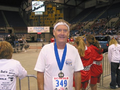 A tired Maddog at the finish line in the Fargodome after the Fargo Marathon 2006.