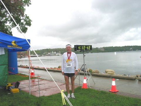 A soaked and cold Maddog at the finish line in Lake Geneva, WI. 2006