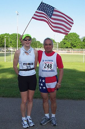 Bekkie Wright and Jose' Nabrida just before the Med City Marathon in Rochester, MN.on May 28, 2006.