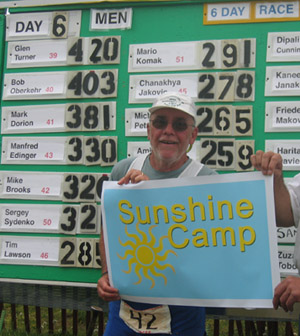 On May 6, 2006 Mike Brooks propelled himself 320 miles at the 2006 Self-Transcendence 6 Day Race in an effort to support Camp Sunshine.