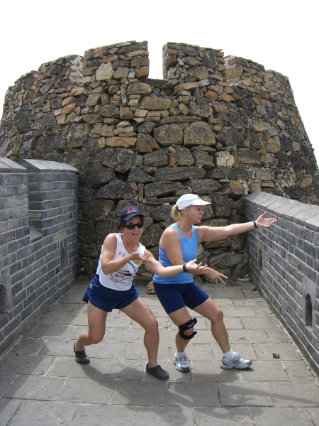 Mieka and friend Fiona practicing Tai Chi along the way.