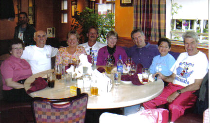 Celebration Dinner at Glacier's Brew House in Anchorage, AK on 06/17/06. Peggy and David Daubert, Laurie Church, Jerry Schaver, Michelle Lybarger, Drew Kudera, Wendy Blauman, and Daniel Sinigallia.