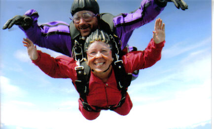 WHAT A RUSH!!! Laurie Church went Skydiving at 12,500 feet after the Mayor's Midnight Sun Marathon in Anchorage, AK 06/18/06.