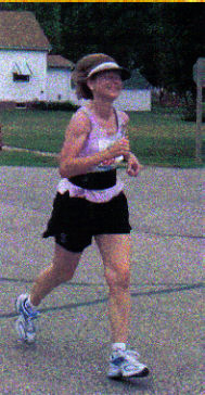 Rose Ann Jolly coming into the Finish Line at Marathon to Marathon in Marathon, Iowa completing her 50 & DC Marathon circuit on 06/17/06.