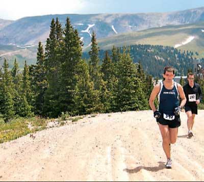 Dane Rauschenberg running the Leadville Trail Marathon right before mile 19. 07/01/06