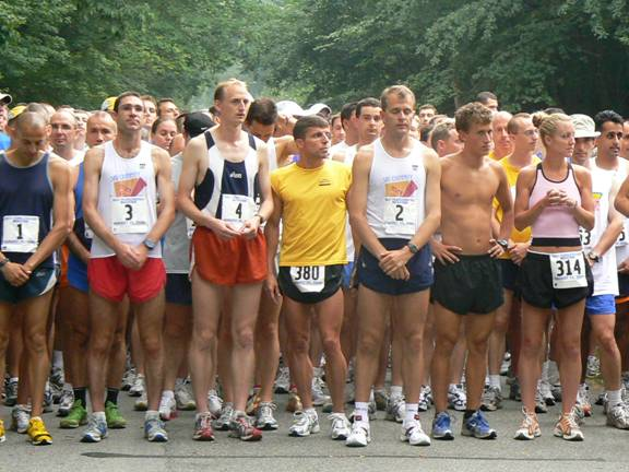 Chuck -- Marathonjunkie -- Engle at the starting line at the Self Transcendence Marathon in Nyack, NY. 08/2006
