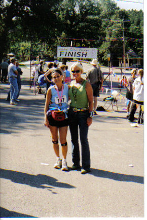Margherita Scott and Elaine Doll-Dunn at the Finish Line of the Leading Ladies Marathon in Spearfish, SD 08/20/06