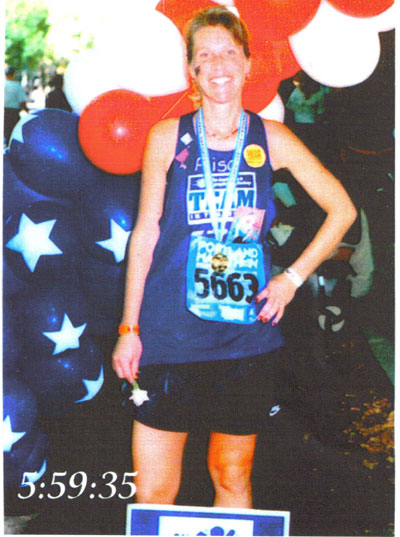 Alisa Golay after finishing The Portland Marathon in 2001. This was Alisa's first Marathon.