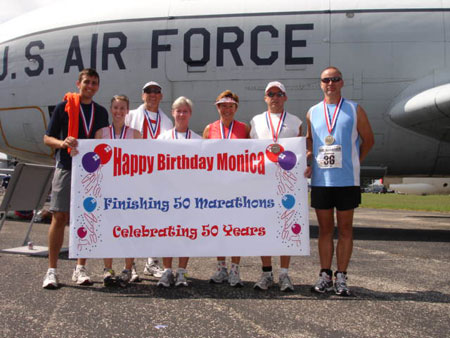 Monica Kimbler and the group of finishers after the Air Force Marathon in Dayton, OH 9/16/06. Monica finished 50 marathon on her 50th birthday.