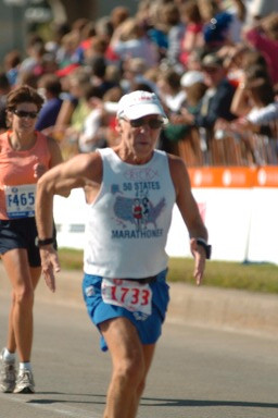 Rick Karampatsos running the Twin City Marathon in St. Paul, MN. 10/01/06 all most to the finish. Great job Rick!!!