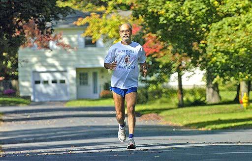 Vincent Ferraro training for a marathon.