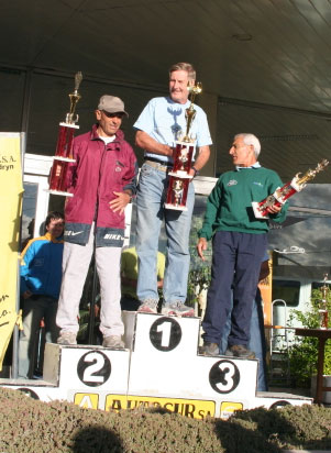 Maddog accepting his 'tiny' trophy or the Patagonia Marathon.