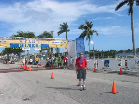 Palm Beaches A cleaned-up and cooled-down Maddog at the finish line. Still wearing compression socks for the long drive home!