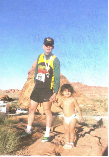 Eddie Hahn with Daughter Samantha at the Valley of Fire run on 11/18/06.