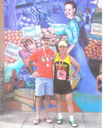 Eddie Hahn with friend and fellow Marathon Maniac that both did there 72nd marathon at the Santa Clarita, CA at the same time.