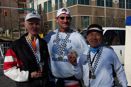 Ira Robinson, Jerry Schaver and Nishi Hajime after the Charlotte Marathon on 12/09/06