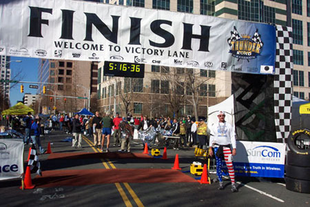 Jerry Schaver at the finish line of the Charlotte Marathon on 12/09/06