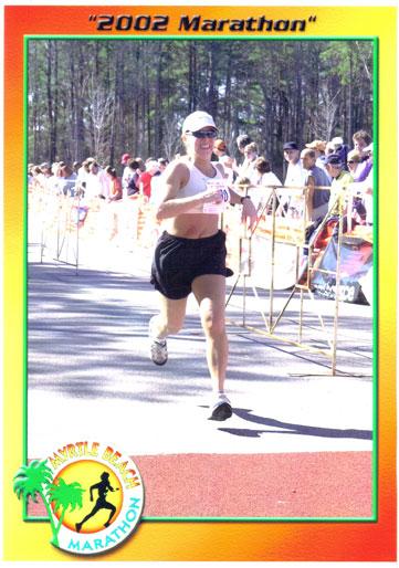 Tina Marie Eaton finishing the Myrtle Beach Marathon in 2002.
