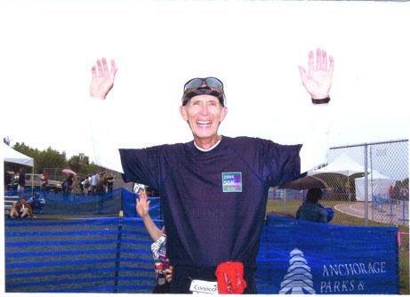 Dana Greenhoe after finishing the Mayor's Midnight Sun Marathon on 06/18/05