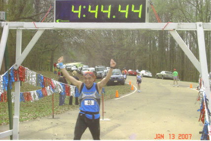 Kenji Shime finshing the Mississippi Marathon on 01/13/07 in Clinton, MS.