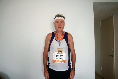 John Wallace an injured/disgusted/frustrated Maddog after the Miami Marathon. Don't ever want to run another one like that (but I will!)