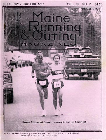 Sharon Mordorski from Roseville Minnesota and she is shown finishing the1989 Sugarloaf Marathon, in Kingfield Maine her 50th marathon in her 50thstate