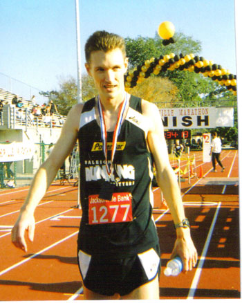 Mike Aldrink after finishing the Jacksonville Marathon with a time of 2:33:55 in 2006. Great Job Mike !!!!!!!!