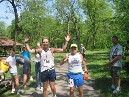 Scott Hartman and Rick Karampatsos and the finish line in Ames, IA on 05/13/07.