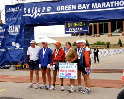 Henry Rueden and friends at the finish line at the Green Bay Marathon on May 20th 2007.