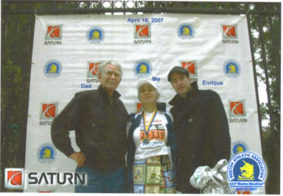 Rosa Nelly Garza with friends after the Boston Marathon on 04/16/07.