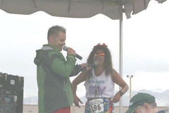 Boonsom Hartman after the Mayor's Midnight Sun Marathon on 06/23/07 and also being interview.