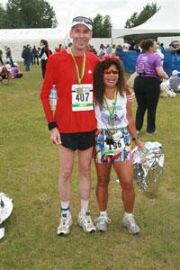 Jim Simpson & Boonsom Hartman after the Mayor's Midnight Sun Marathon on 06/23/07.