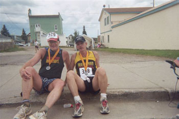 Eddie Hahn and friend after finishing the Leadville Trail Marathon.