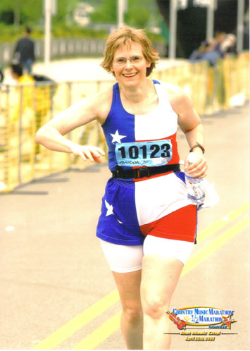 Carol Young running the Country Music Marathon in Nashville on 04/26/03.