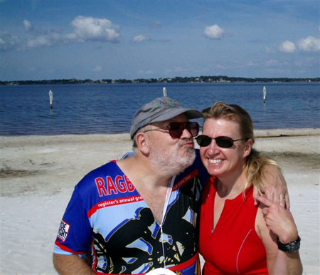 David Towns and Meta Minton celebrated her birthday Sunday by cycling in the Florida Freewheelers Horrible Hundred.