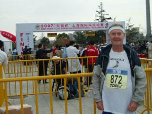 Maddog at the finish line of the Shanghai Marathon.