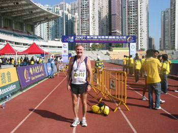 Maddog at the finish line in Macau Stadium