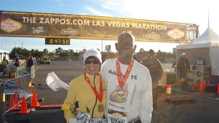 Helene Neville and Don Arthur after his heart transplant at the Las Vegas Marathon in 2007.