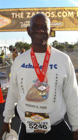 Don Arthur after his heart transplant at the Las Vegas Marathon in 2007.