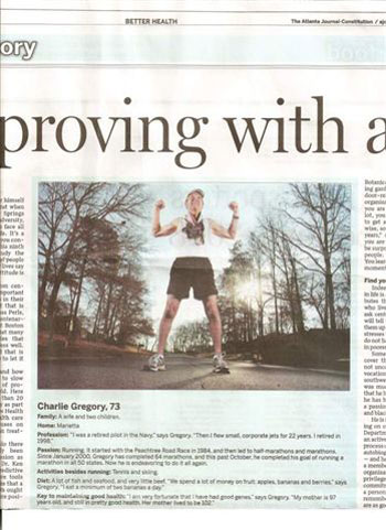 Article on Group member Charlie Gregory in Jan. 2 '08 Atlanta Journal Constitution.