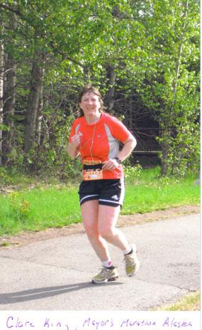 Clare King running the Mayor's Marathon on 06/17/06 in Alaska.