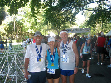 Charlie, Linda and Maddog at the finish line.
