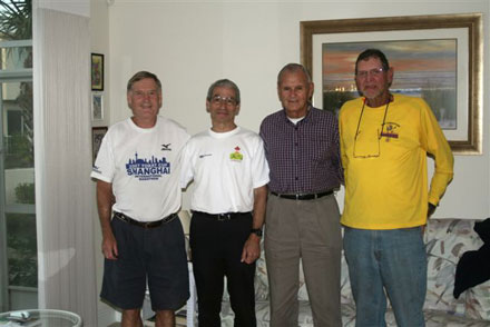 4 marathoners/members who convened for pasta dinner before the Sarasota Marathon to help John 'Maddog' Wallace prepare for his 300th marathon! These 4 runners have completed a total of 2445 marathons & 258 countries!