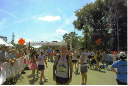 Very tired, beat-up (and sick?) Maddog at the finish line at the Jacksonville Marathon.