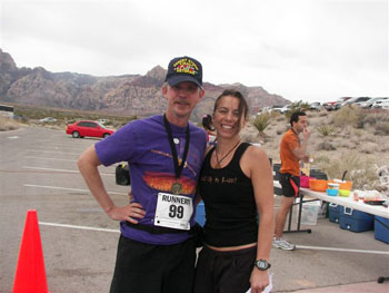 Eddie Hahn at the Red Rock Canyon, Nev. marathon with Joyce Forier, the race director of the (Nevada) Calico seies of marathons.