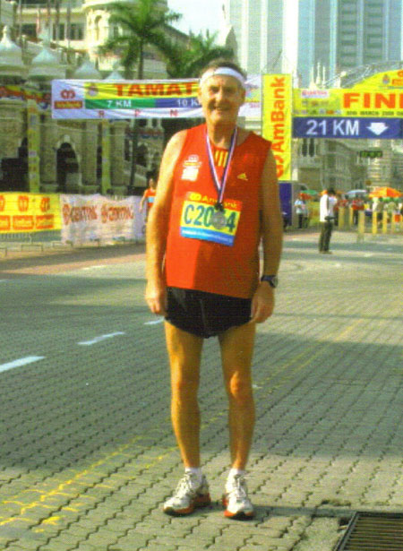 A hot & soggy Maddog at the finish line of the Kuala Lumpur marathon.