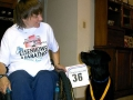 Holly Koester and her service dog after the Eisenhower Marathon.