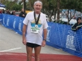 Maddog at the A1A marathon in Fort Lauderdale. A cold, wet and frustrated Maddog at the finish line.