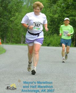 Terri Ernst running the Mayor's Marathon in Anchorage, AK in 2007.